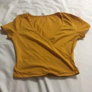 Garage: Mustard yellow crop top low cut